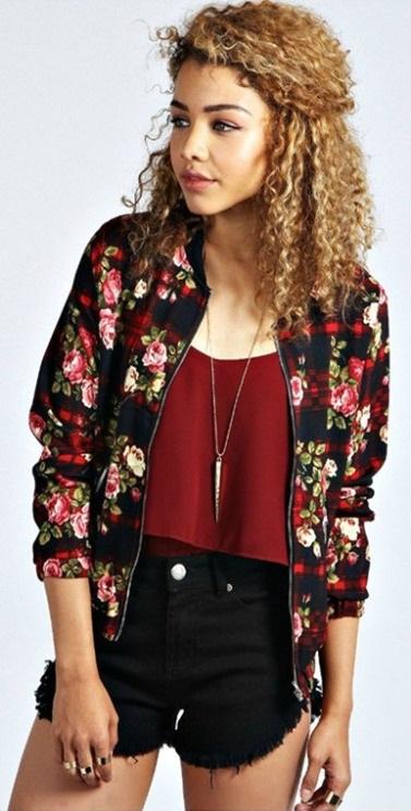 2015-New-Arrival-Celebrity-Style-Vintage-Flower-Ladies-Printed-Crop-Bomber-Jacket-Women-Coat-Zip-Top