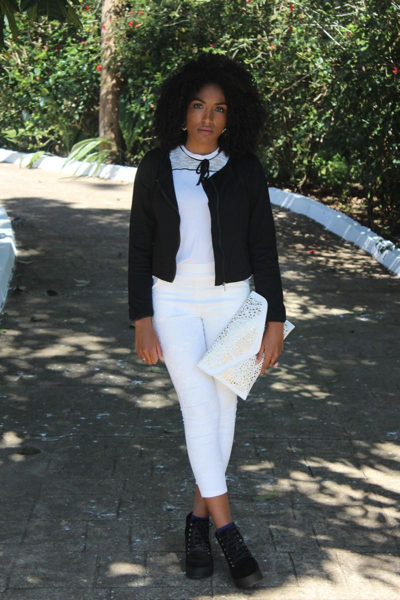 Meu Look.Casaqueto Preto e Calça Branca (P&B)